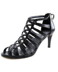 Stuart Weitzman | Exes Women Peep-toe Leather Black Slingback Heel | Lyst