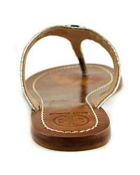 Tory Burch | Metallic Cameron Thong Women Open Toe Leather Silver Thong Sandal | Lyst
