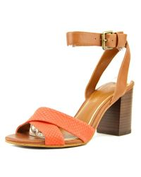 Enzo Angiolini | Red Gabele Open Toe Leather Sandals | Lyst
