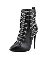 Giuseppe Zanotti - Black Olinda 110 Lace Up Women Pointed Toe Leather Bootie - Lyst