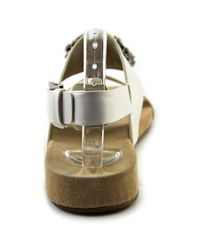 MICHAEL Michael Kors - White Luna Flat Sandal Open-toe Leather Slingback Sandal - Lyst