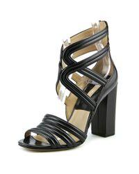 Michael Kors | Preston Women Open Toe Leather Black Sandals | Lyst