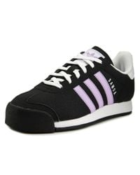 Adidas - Black Samoa Round Toe Leather Sneakers for Men - Lyst
