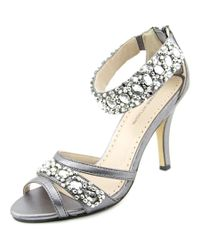 Adrienne Vittadini | Metallic Gabrielle Peep-toe Synthetic Heels | Lyst