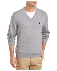 Brooks Brothers | Gray Wool-blend V-neck Sweater for Men | Lyst