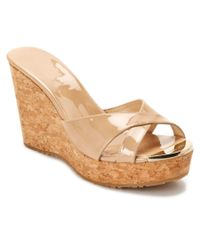 Jimmy Choo | Natural Pandora Patent Wedge Sandal | Lyst