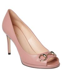 Gucci | Pink Leather Horsebit Pump | Lyst