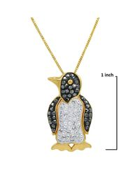 Amanda Rose Collection - Metallic Gold Flashed Sterling Silver Penguin Pendant-necklace Made With Swarovski Crystals - Lyst