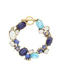 Sparkling Sage - Blue 14k Plated Resin Collage Toggle Bracelet - Lyst