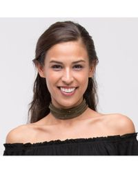Bungalow 20 - Green Triangle Studded Strappy Suede Choker - Lyst
