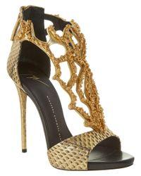 Giuseppe Zanotti | Embossed Coral Metallic Leather Sandal | Lyst