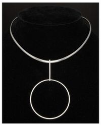Argento Vivo - Black Silver Plated Circle Collar Necklace - Lyst