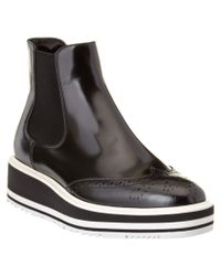 Prada | Black Brushed Calf Leather Ankle Boot | Lyst