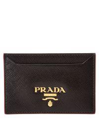 Prada - Black Saffiano Leather Credit Card Holder - Lyst