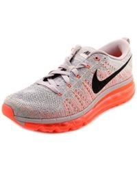 Nike - Gray Flyknit Max Round Toe Canvas Running Shoe - Lyst