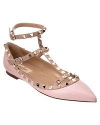 Valentino | Pink Rockstud Leather Ballerina Flat | Lyst