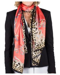 Roberto Cavalli | Red Women's Floral Print Silk Scarf Large | Lyst