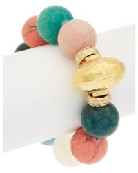 Devon Leigh | Multicolor 18k Plated Gemstone Stretch Bracelet | Lyst