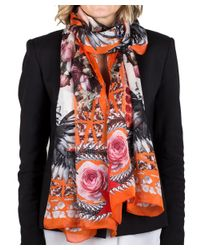 Givenchy | Orange Women's Chain Border Floral Pattern Silk Scarf Large | Lyst