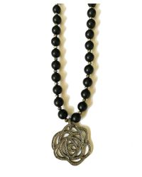 Blue Candy Jewelry | Matted Black Onyx Diamond Rose Pendant Necklace | Lyst