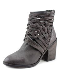 Free People | Carrera Women Round Toe Leather Gray Ankle Boot | Lyst