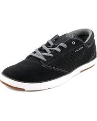 Volcom | Quinn Men Round Toe Leather Black Sneakers for Men | Lyst