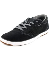 Volcom - Quinn Men Round Toe Leather Black Sneakers for Men - Lyst