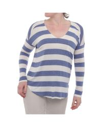 Splendid | Blue Stripe Drapey Lux Long Sleeve V-neck T-shirt Women Regular T-shirt | Lyst