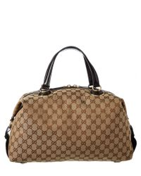 Gucci | Brown Beige Canvas & Leather Boston | Lyst