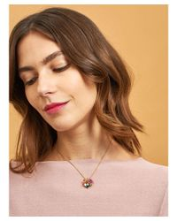 Les Nereides - Multicolor Dazzling Discretion Pink Flower On White And Blue Stone Necklace - Lyst
