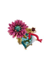 Les Nereides | Multicolor Dazzling Discretion Pink Flower On White And Blue Stone Adjustable Ring | Lyst