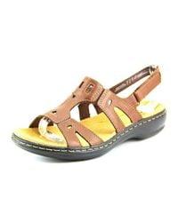 Clarks | Leisa Annual Women Open-toe Leather Brown Slingback Sandal | Lyst