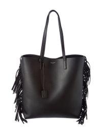 Saint Laurent | Black Medium Fringed Leather Shopper Tote | Lyst