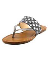 Jessica Simpson | Metallic Kampsen Open Toe Synthetic Thong Sandal | Lyst