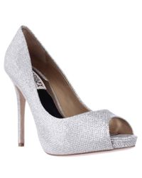Badgley Mischka | Metallic Ponderosa Platform Peep Toe Pumps | Lyst