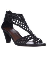 Donald J Pliner | Donald J Pliner Verona Woven T-strap Sandals - Black | Lyst