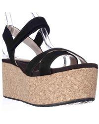 DKNY | Dnky Franca Cork Platform Wedge Sandals - Black | Lyst