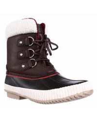 Tommy Hilfiger | Brown Ebonie Water Resistant Fleece Lined Winter Booties | Lyst