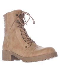 Guess | Brown G By Meara Motorcycle Lace Up Lug Sole Booties - Dark Natural | Lyst