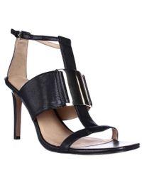 Nine West   Black Kaylen T Strap Square Toe Dress Sandals   Lyst