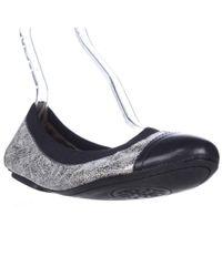 Tory Burch | Metallic Bridgette Scrunch Ballet Flats - Pewter/bright Navy | Lyst