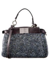 Fendi | Black Bead Embroidered Micro Peekaboo Leather Shoulder Bag | Lyst