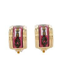 Hermès | Gold-tone & Pink Enamel Earrings | Lyst