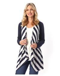 Patchington - Blue L/s Stripe Cardigan - Lyst
