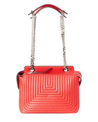 Fendi - Red Dotcom Click Small Leather Chain Shoulder Bag - Lyst
