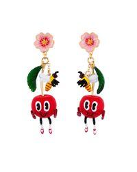 Les Nereides - Red My Veggie Garden Amazed Cherry And Bee Earrings - Lyst