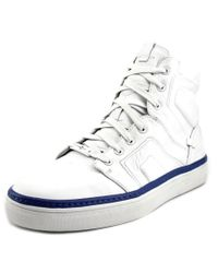 Mark Nason | Signal Men Round Toe Leather White Sneakers for Men | Lyst