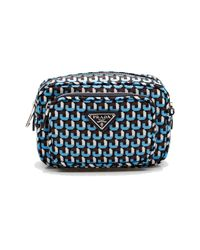 Prada | Women's Fabric Leather Crossbody Shoulder Handbag Blue | Lyst