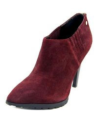 Calvin Klein | Red Berrie Pointed Toe Suede Bootie | Lyst