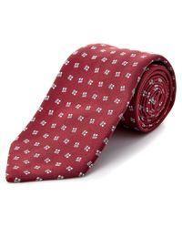 Brioni | Red & Silver Print Silk Tie for Men | Lyst